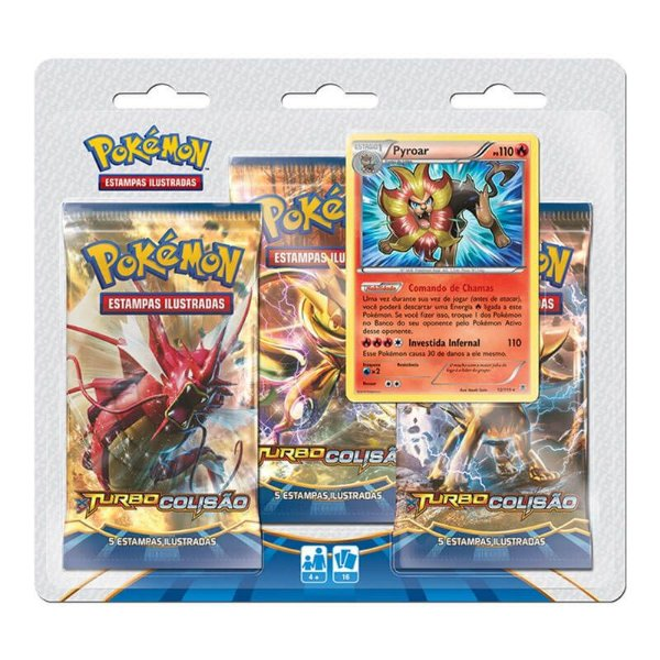Pokémon TCG Triple Pack Pyroar - XY 9 Turbo Colisão